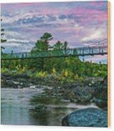 Swinging Bridge Sunset  Wood Print