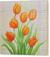 Tangerine Tulips Wood Print