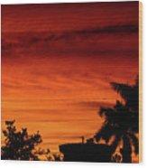 The Fire sky Wood Print