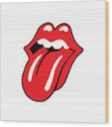 The Rolling Stones Official Original Logo Tongue Logotype Mouth Lips Png Transparent Background Wood Print