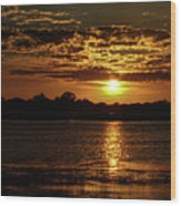The Sunset over the Lake Wood Print