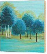 Three Birch Trees Wood Print