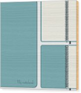 Three images of the same blue notebook Wood Print
