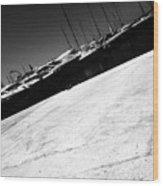 Tilt Image Of Boats Moored At Harbor Against Sky Wood Print