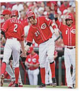 Todd Frazier, Homer Bailey, and Zack Cozart Wood Print