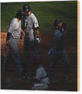 Todd Helton, Yorvit Torrealba, and Ryan Spilborghs Wood Print