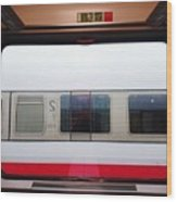 Train Seen From Window Wood Print
