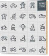 Transportation Thin Line Icons - Editable Stroke Wood Print