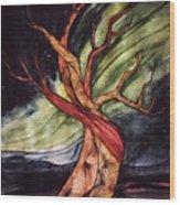 Tree with Northern Lights Wood Print