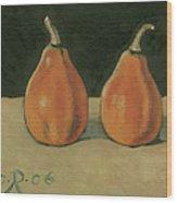 Two Orange Pumpkins Wood Print