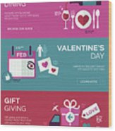 Valentine's Day Banners Wood Print