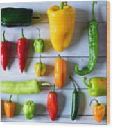 Variety of fresh peppers Wood Print