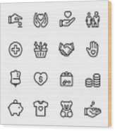 Volunteer and Charity - outline icon set Wood Print