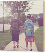 Walking to school Wood Print