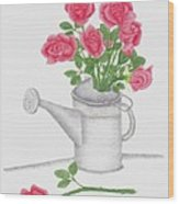 Watering Can With Red Roses Wood Print