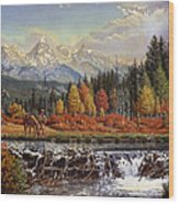 Western Mountain Landscape Autumn Mountain Man Trapper Beaver Dam Frontier Americana Oil Painting Wood Print