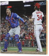Willson Contreras and Bryce Harper Wood Print