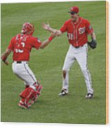 Wilson Ramos and Max Scherzer Wood Print