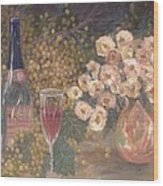Wine And Roses Wood Print