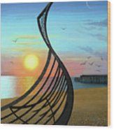 Winter Sunset Over Leigh Dyer's Boat Wood Print