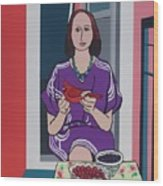 Woman, Bird, and Berries - A Tribute to Henri Matisse Wood Print