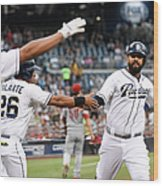 Yangervis Solarte, Will Venable, and Matt Kemp Wood Print