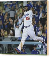 Yasiel Puig And Howie Kendrick Wood Print