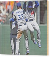 Yasiel Puig, Scott Van Slyke, and Matt Kemp Wood Print