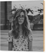 Young Woman With Eyeglasses Wood Print