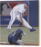 Yunel Escobar and Brett Lawrie Wood Print