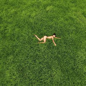 Girl Resting On The Green Lawn Stock Photo - Image of cute