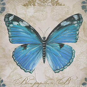 Bleu Papillon C Painting By Jean Plout