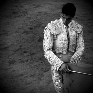 Bullfight In Mijas Spain Black/white Photograph by