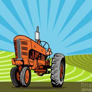 Vintage Farm Tractor Farmer Plowing Oval Retro Digital Art