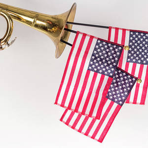 American Trumpet Instrument /& Music Sheet American Flag Patriotic Framed Picture