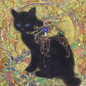 金と黒猫#blackcatart #celt by Tomoko Nakai