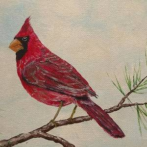 Snowman And Cardinal Painting By Shane Daley