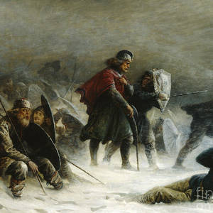 Norweigian King Sverre In Battle Birkebein Painting Real Canvas Art Print
