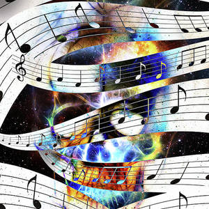 Music Notes And Clef In Space With Stars  Abstract Color