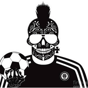 43766096a08d Soccer Skull Icon Background With Sunglasses And Ball. by Tea Brncic
