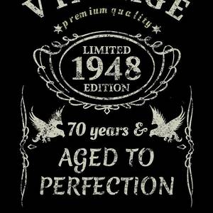 Vintage 70th Birthday Gift Tshirt 1948 Aged To Perfection By Orange Pieces