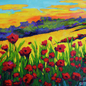 Blanket Of Joy Modern Impressionistic Oil Painting Of Poppy Flower Field Painting By Patricia Awapara