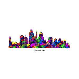 cincinnati ohio paint splatter skyline digital art by gregory murray