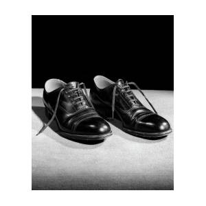 d8f8fbee18598 1930s Pair Of Black Lace Up Mens Shoes Photograph by Vintage Images