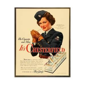83b61faa 1942 - Chesterfield Cigarette Advertisement - World War II - Joan Bennett -  Color by John