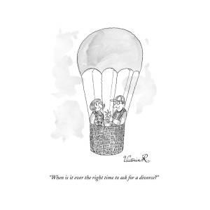 A Man Asks A Woman In A Hot-air Balloon by Victoria Roberts