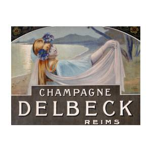 Advertisement For Champagne Delbeck Drawing By Louis Chalon