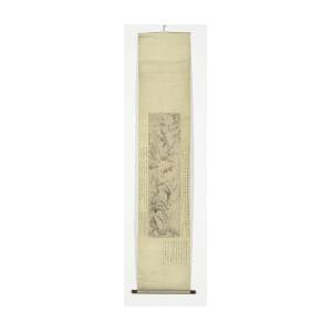 Chinese Scroll Painting With Bamboo And Orchids On A Rock by Litz Collection
