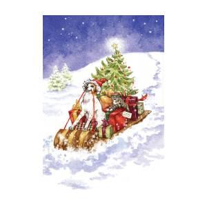 print UNFRAMED sleigh winter dog christmas brittany spaniel brittany dog sleigh rides dog art holiday