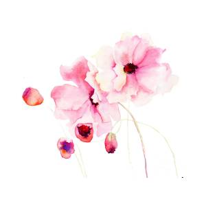Colorful Pink Flowers Painting By Regina Jershova